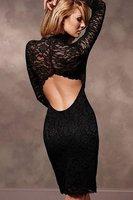 Женское платье Women's Dresses Women Fashion Sexy Lace Open Back Dress, Club Long-Sleeve Dress, Casual Hollow Out Mini AW1174
