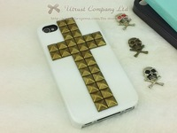 Чехол для для мобильных телефонов DHL/EMS ship 50pcs/lot New Pyramid Stud handmade Mint Green Rivet Case Cover For iPhone 4 4S studded case, 6 color+Package