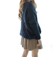 Женский пуловер 2013 new autumn and winter retro twist round neck loose sweater candy colors