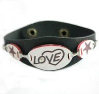 Кожаный браслет Western Trendy Female Leather LOVE Cuff Bracelet, 2 Colors Available. 3Pcs/Lot yw126