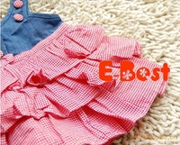 Платье для девочек 5 pcs baby girls jeans dress B2W2 cupcake dress plaid red color dress 80-120