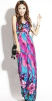 Free Shipping Hot Fashion Bohemia Printed flower Halter V neck women Beach Summer Long Dress Maxi Dresses