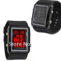 Min.order $15(mix order)Free shipping!hot,2012,black digital red led sport NR style men ladies wrist watches for boy womens w001