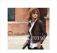 Женская одежда из кожи и замши Ladies Faux Jacket /Fashion Jacket/ Slim Short Leather Jacket /Brown/1Pcs/Lot Y3128