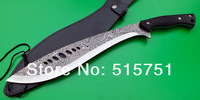 Гуркхи охота фиксированной Дамаск шаблон 7 отверстий кукри мачете, стеклянные волокна ручки, кожаные ножны, нож, нож выживания