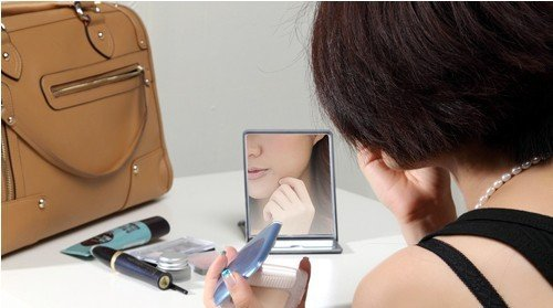 Less than $10 Hot Sale Apple fans ipad2  cosmetic mirror Carry mirror  pocket mirror  1pcs girl  gift free shipping