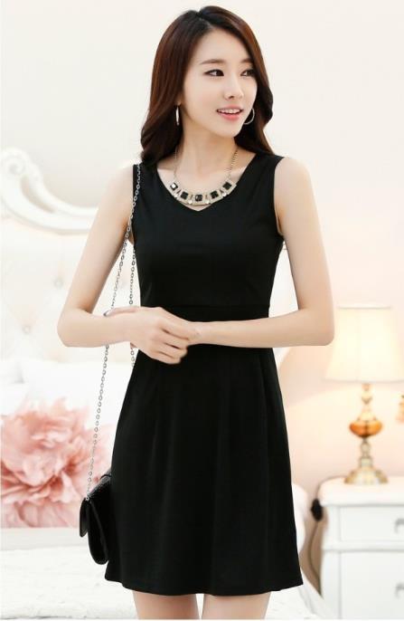 2014 spring one-piece dress plus size clothing slim sleeveless tank dress one-piece dress basic