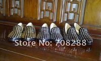 2012 woman Rolling Spikes flat shoes casual women sandals leopard/black