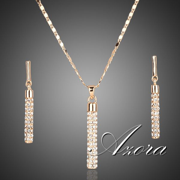 18K Real Gold Plated SWA ELEMENTS Drop Earrings and Pendant Necklace Sets !(Azora TG0007)