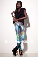 Женские носки и Колготки Retail Women 's high elastic brand leggings with space galaxy cosmos cosmix printed Pants female LE-015