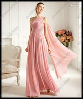 Вечернее платье New Design Sheath One Shoulder Sleeveless Floor-length Chiffon Evening Gown Dress EK-003