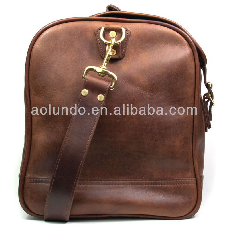 Small classic travel luggage bags, genuine Leather travel bag