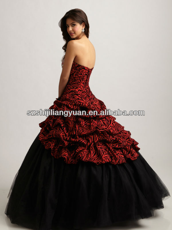 SJ1345 custom made strapless ball gown organza crystal bead black and red prom dress