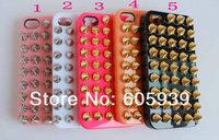 Чехол для для мобильных телефонов New Fashion Punk Gold Spikes Studs Rivet Cover Skin case For iPhone 4 4S 4G 5G, sipping