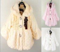 1 шт розничной baby девочки зимний мех Пальто Пальто дети принцессы теплый флис наряд пальто белые топы розовый желтый