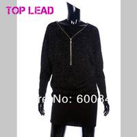 Новая зимняя мода прибытия тонкий бедра потерять плюс размер v-образным вырезом черного битой рукав цельный платье сексуальные женские платья t120803
