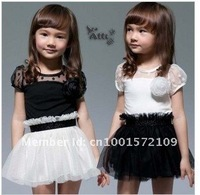 Платье для девочек cheapest price black and white classic two colour kid girl dress for 2 to 8 years old chirldren
