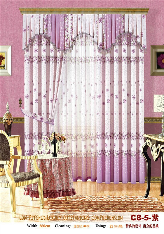 flower window curtain with fancy valance for home decoration
