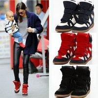 Женские кеды Hot Korea Women's Ladys Isabel Marant High Tops Velcro Ankle Wedge Hidden Heels Sneakers Boots Shoes