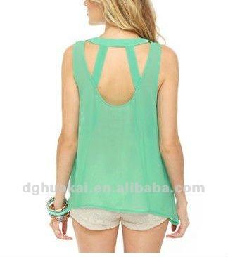 de fábrica scoop escote de menta de gasa top de la moda casual blusa