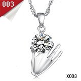 FASHION JEWELRY Mix order 925 sterling silver white gold crystal pendant necklace Free Shipping DHL EMS