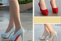 Туфли на высоком каблуке 14cm 4 Colors new arrive fashion Rhinestone Rubber Sexy Wedding thin high heel shoes for women pumps