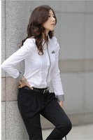 Женские блузки и Рубашки 2013 New Korea style women purf sleeve business shirt, OL shirt, casual blouse, White, GT0812