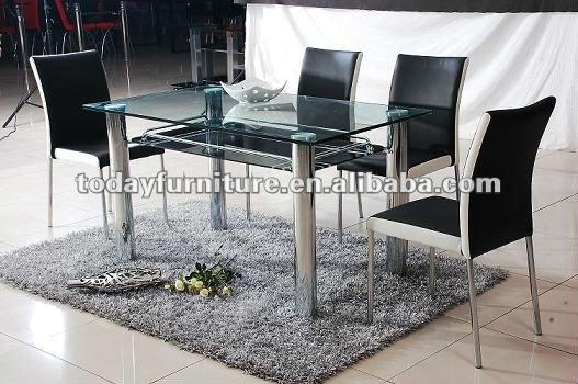 Templado de vidrio mesa de comedor y de la pu silla de comedor ...