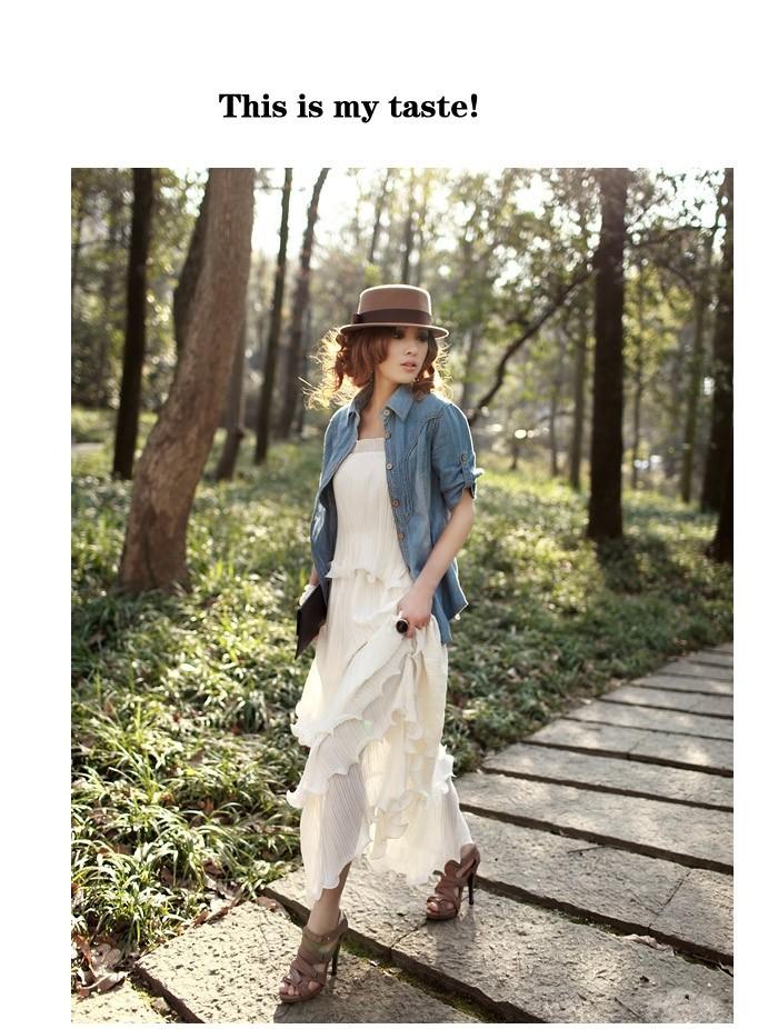 Женское платье 1 Piece New Fishbone Big Chiffon Belt Dress Pleated Long Bubble Dress