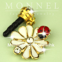 IP223 Cute Lily Ladybug Charm Universal 3.5mm Anti Dust Earphone Jack Plug Cap for Smart Phone