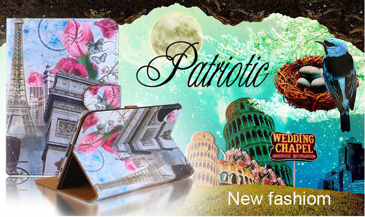 """Newest Leather Flower Flag Universal 7"""" inch Table Case"""
