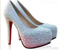Туфли на высоком каблуке 140 mm sexy high heel shoes womens 2013 platforms rhinestone pumps high heels wedding shoes crystal silver red blue black