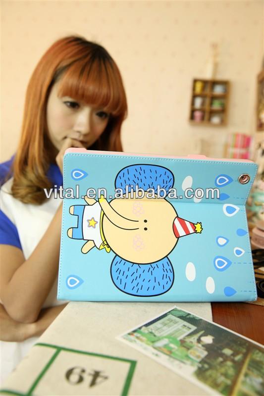 Cute Cartoon Leather Case Cover iPad 4,3,2, Sweet Elephant PU Leather Case Cover for iPad