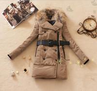 free shipping pretty fashion women winter warm fur collar mid long zipper down parkas 2colors