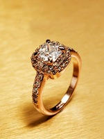 Hot! High/end Jewelry Lady Rose Gold Princess Diamond Ring /Free Shipping