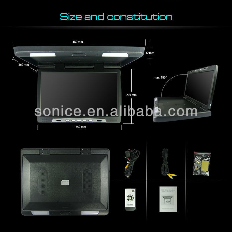 19 inch ceiling mount car monitor with HD pixel and TV function
