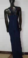 Вечернее платье Elastic Knitted J017 Blue Bandage Dress Ladies Sleeveless Cutout Maxi Bridesmaid Dress