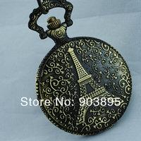 Карманные часы на цепочке Vingtage Bronze brass Tone Eiffel Tower Fob Pocket Watch clock chain quartz watch japan MOVT