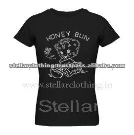 100% cotton Printed Ladies T-shirt - Honey - Black