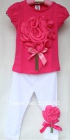 Футболка для девочки baby set cotton B2W2 2pcs suit good quality hot pink + white ED-362
