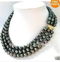 Колье-цепь s natural 3 row 8-9MM Black freshwater Pearl Necklace pearl Jewelry, gift