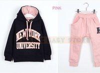 Комплект одежды для девочек clear storgae long sleeve shirt and pants/children's clothing/children's sport clothing/ 2 sets