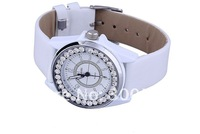 Наручные часы J1594 Good Quality Classic White Imitation Diamond Woman Watch Quartz Wrist Watch Dress Watch PU leather Band