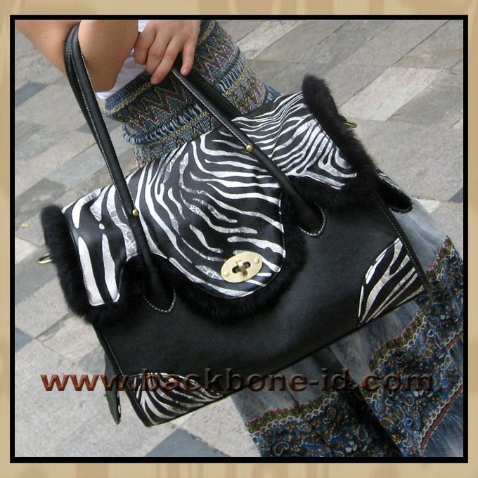 South Wind-Black faux leather-Zebra Pet Carrier Dog