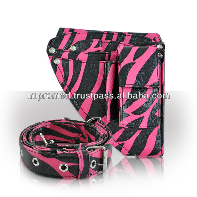 Pink zebra Genuine Leather scissor pouch, Hairdressing Pouches