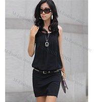 новые моды стильные женские причинной crewneck шикарная туника без рукавов шифона платье мини