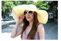 Женская шляпа от солнца Fashion New Women's Wide Large Brim Summer Beach Sun Hat Straw Beach Cap