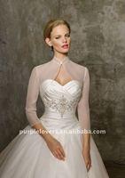 Simple design long sleeve organza wedding bolero
