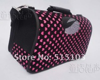 Free shipping fashion pink-black heart shaped ventilated pet carrier bag for dog & cat