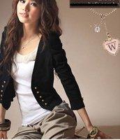 Женская куртка Autumn Korean Puff Sleeve Gold Button Short Coat Black